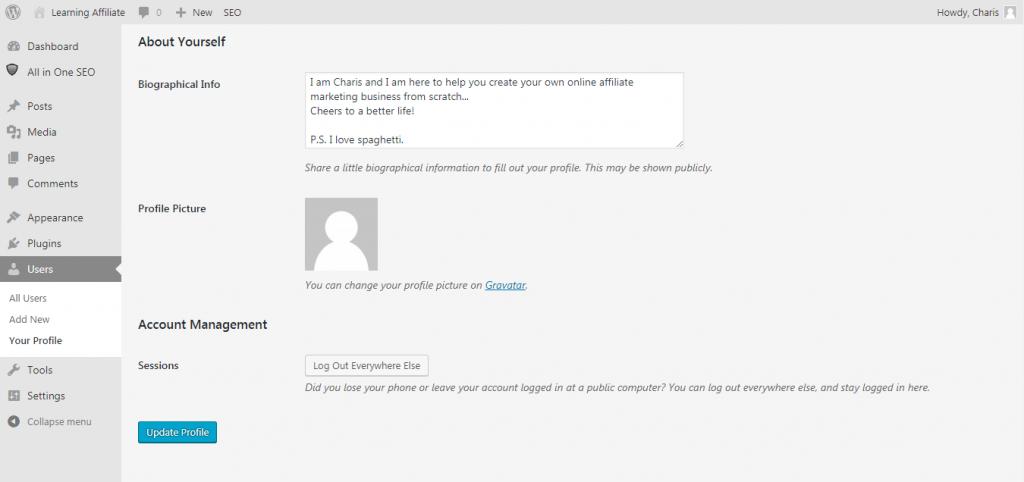 WordPress Biographical Info