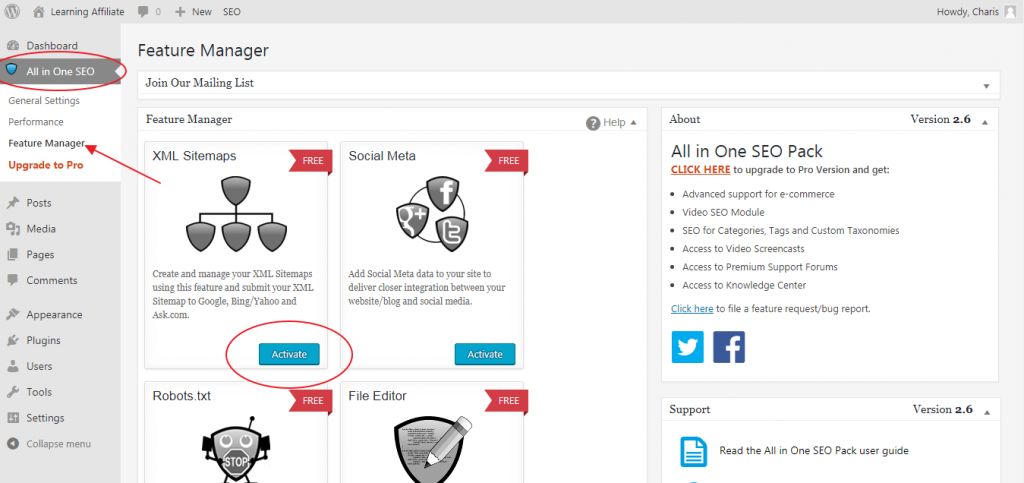 WordPress All in One SEO XML Sitemaps