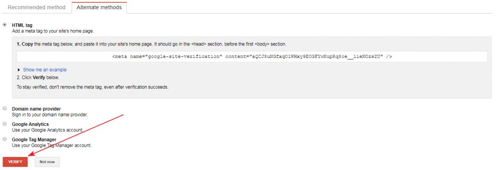 Google search console html verification