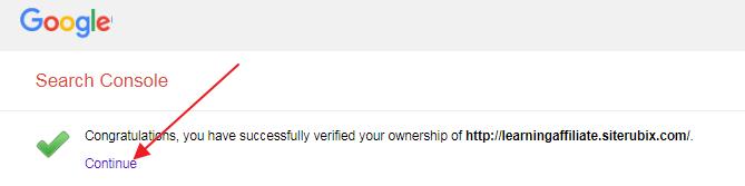 search console verification success