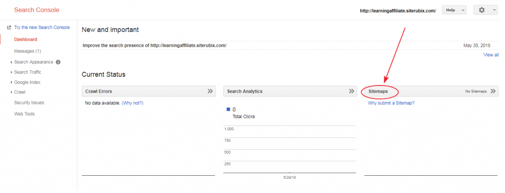 Add sitemap to search console