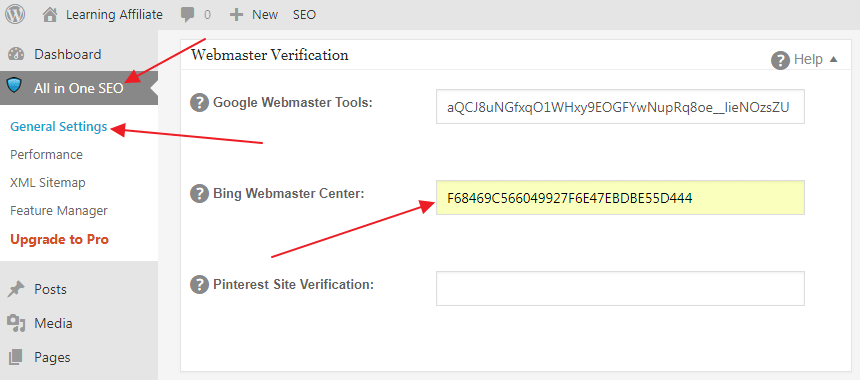 Bing verification code All in One SEO
