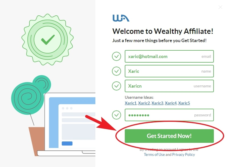 Wealthy Affiliate create account