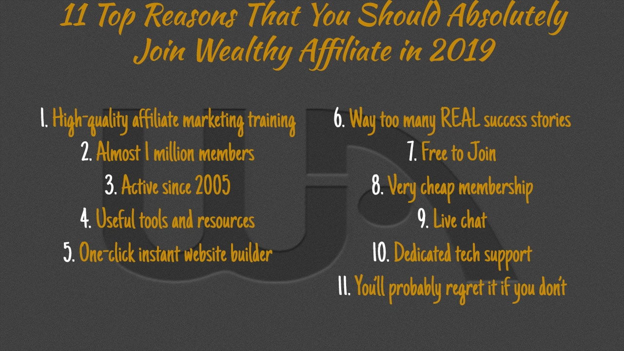 11 Top Reasons That You Should Absolutely Join Wealthy Affiliate In 2019
