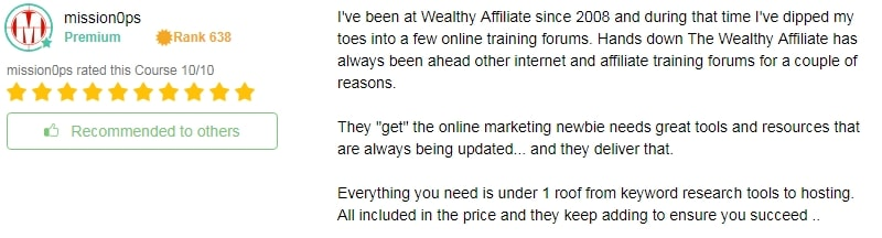 Wealthy Affiliate Training Rating 3