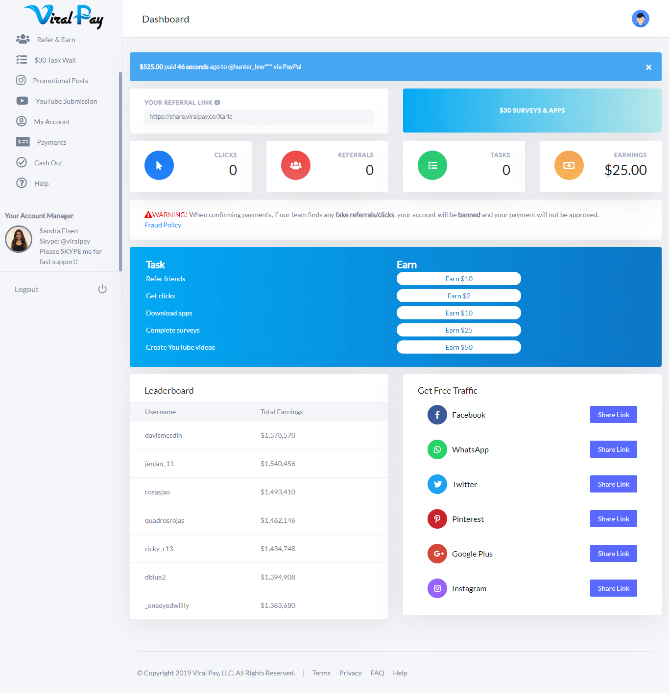 Viral Pay Dashboard Overview
