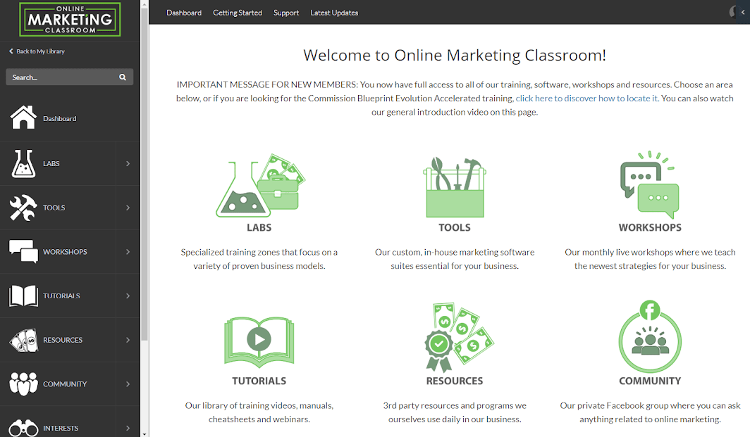 Online Marketing Classroom Dashboard