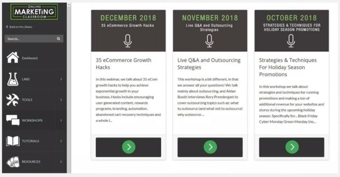 Online Marketing Classroom Live Monthly Workshops