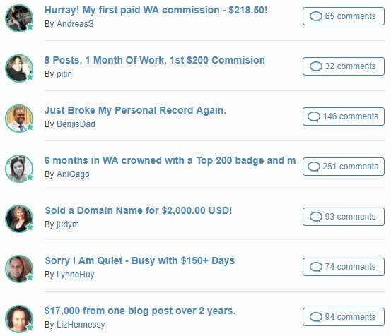 Wealthy Affiliate Blogroll Success Stories 2