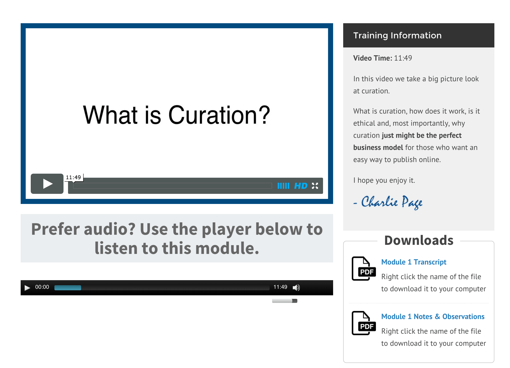 Curation-Power-Module-Page