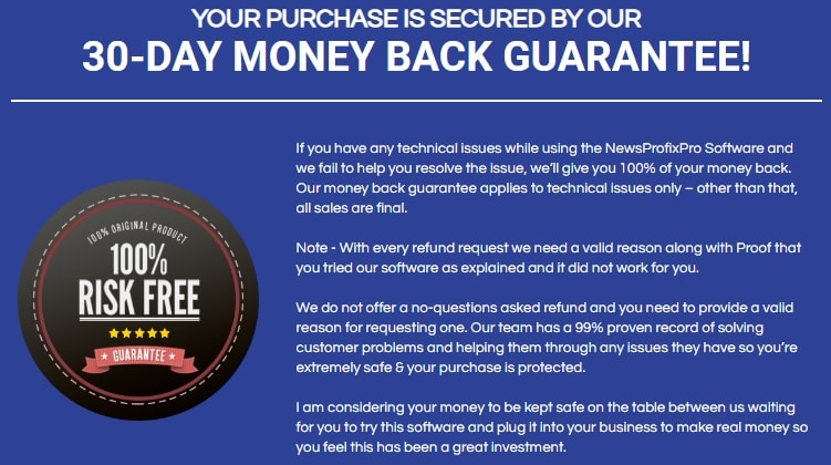 News Profix Pro Money-Back Guarantee