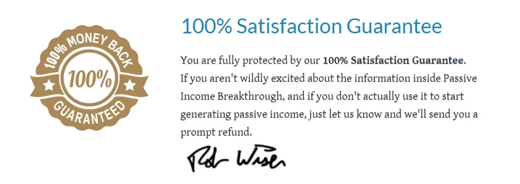 Passive Income Breakthrough Money back Guarantee
