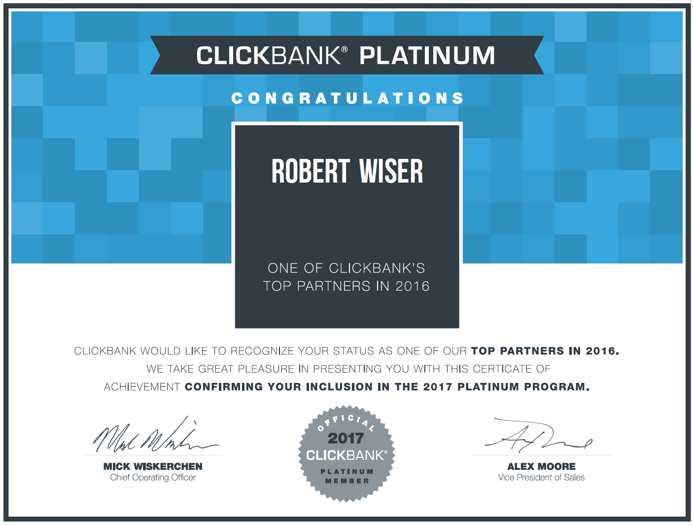 Passive Income Breakthrough Rob Wiser ClickBank Platinum Earner