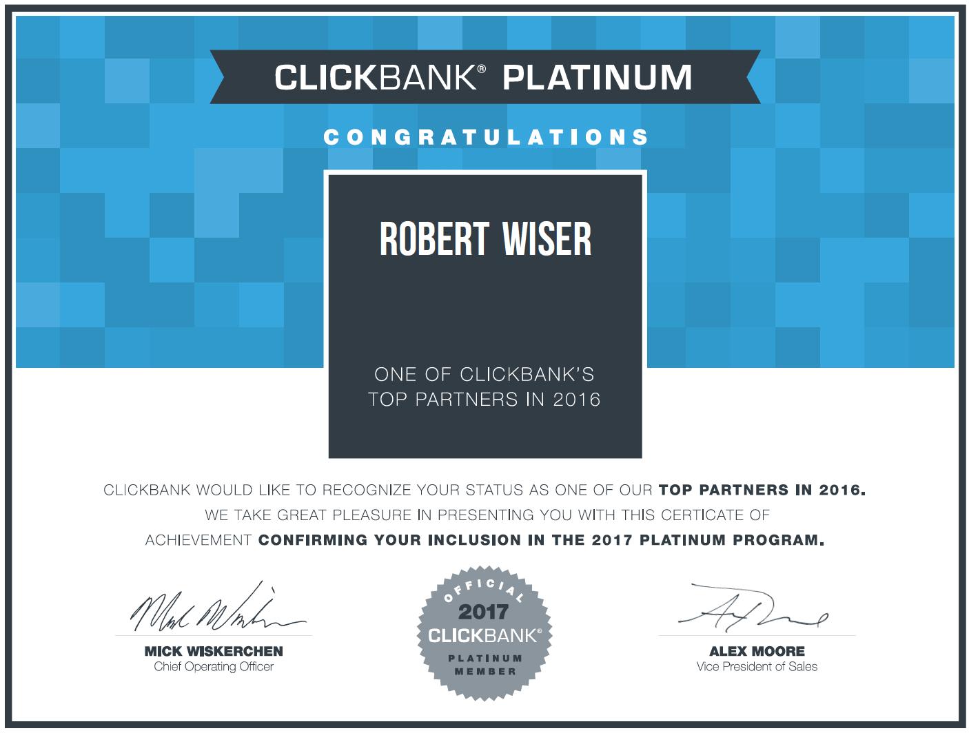 Passive Income Breakthrough Rob Wiser ClickBank Platinum Earner