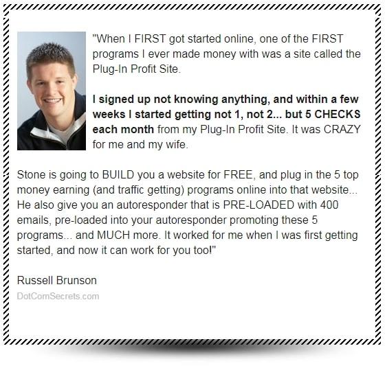 Plug In Profit Site Russell Brunson Testimonial