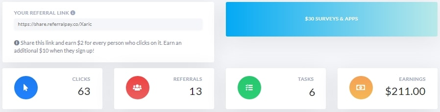 Referral Pay Earnings Dashboard