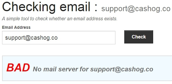 CashOG Fake Email Address