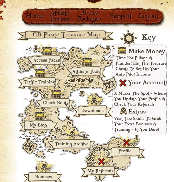 Clickbank Pirate Members Area Map