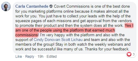 Covert Commissions Success Story 1