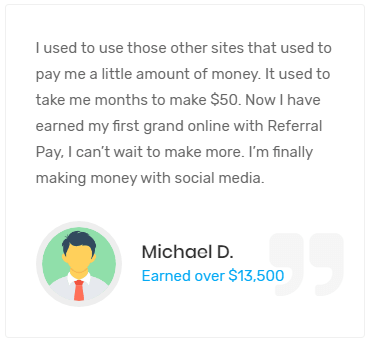 Referral Pay Fake Testimonial 1
