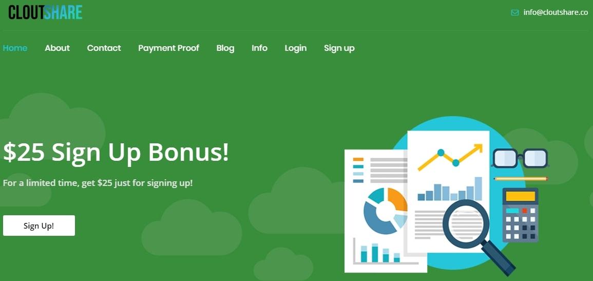 CloutShare $25 Signup Bonus