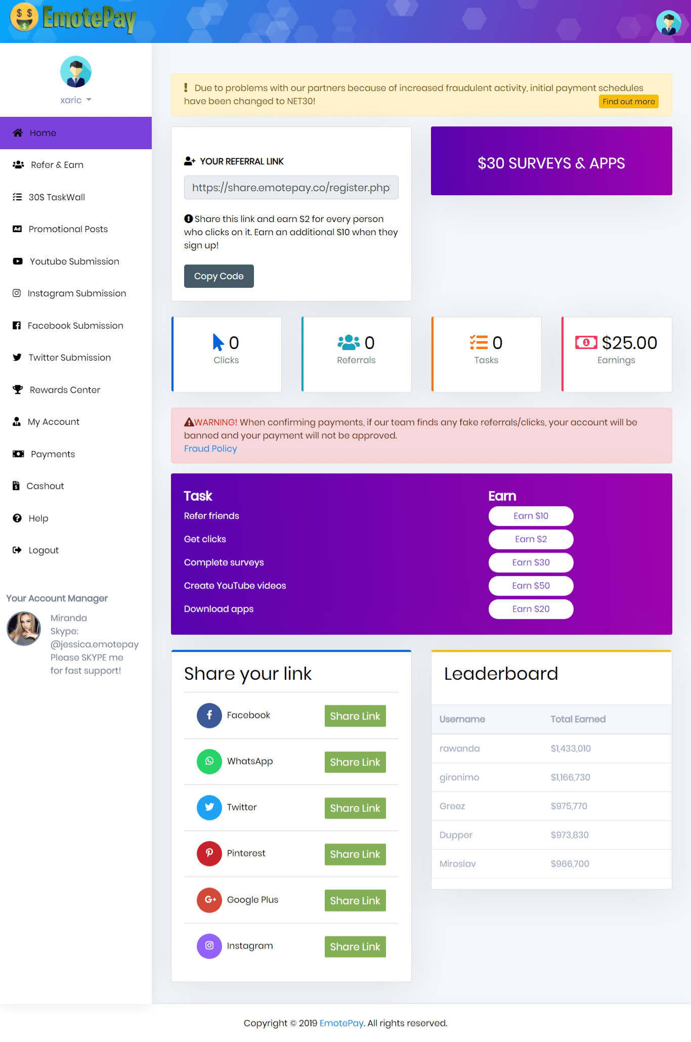 EmotePay Main Members Dashboard