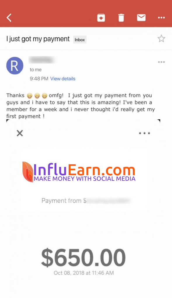InfluEarn Fake Payment Proof 5