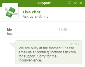 Notion Cash Fake Live Chat