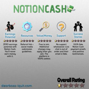 Notion Cash Review – Expect NO Payout From Them…