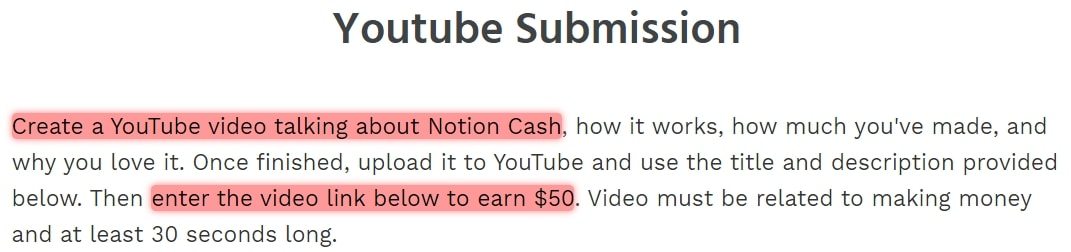 Notion Cash YouTube Submission
