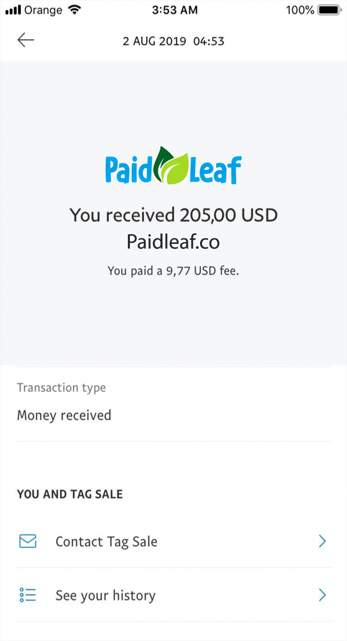 PaidLeaf Fake Payment Proof 3