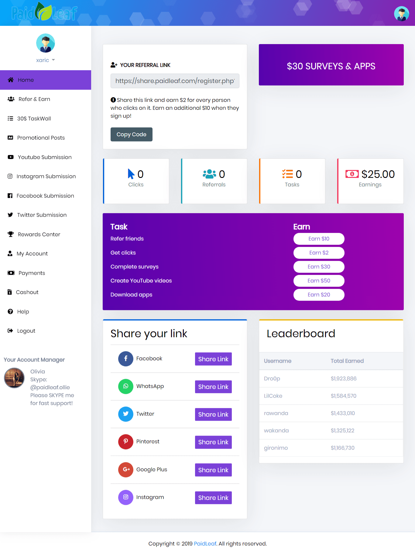 PaidLeaf Main Dashboard