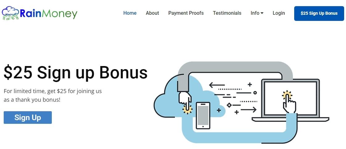 RainMoney $25 Signup Bonus