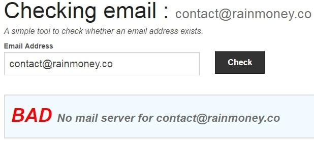 RainMoney Fake Email