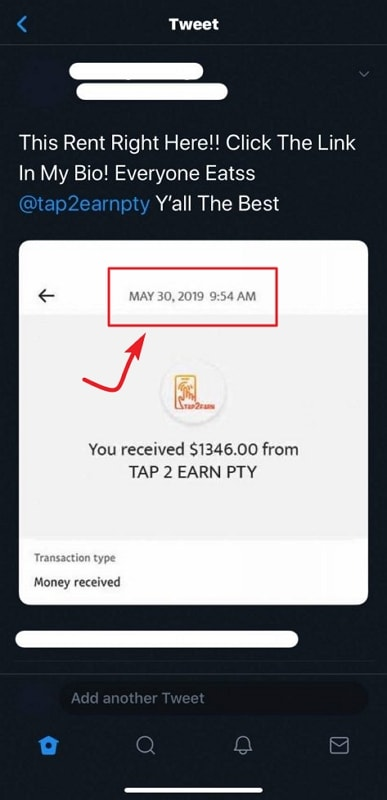 Tap2Earn Fake Payment Proof 1