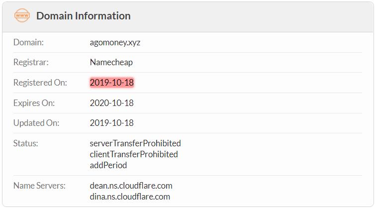 Agomoney.xyz Domain Name Registration Date