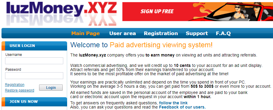 IuzMoney.xyz Identical Scam