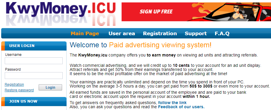 KwyMoney.icu Identical Scam
