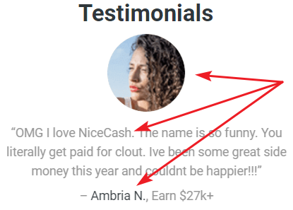 NiceCash.co Fake Testimonial