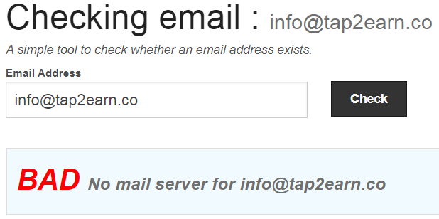 Tap2Earn.co Fake Email Address
