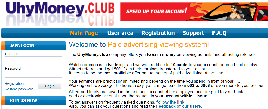 UhyMoney.club Identical Scam