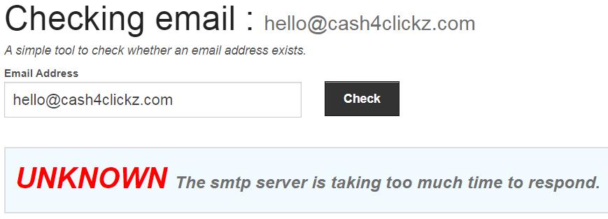 Cash4Clickz.com Fake Email Address