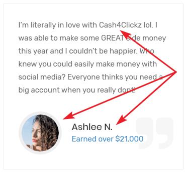 Cash4Clickz.com Fake Testimonial 1