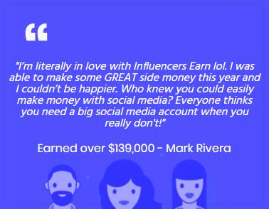 InfluencersEarn.com Fake Testimonial 2
