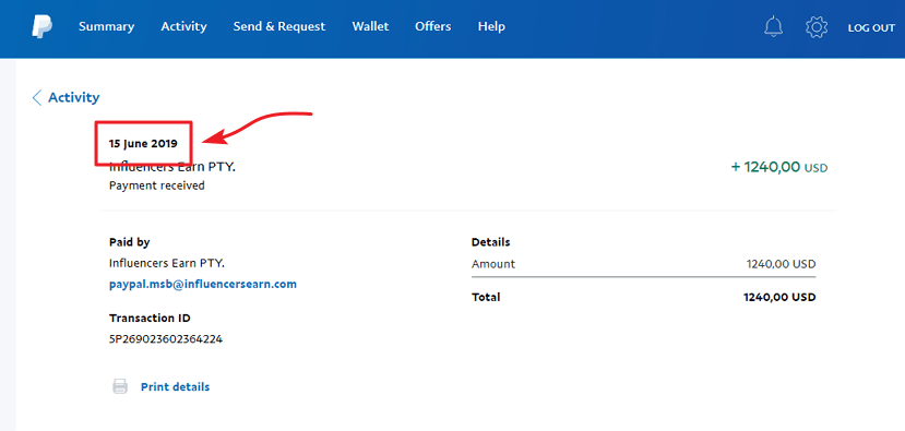 InfluencersEarn.com Payment Proof 1