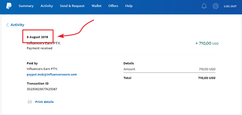 InfluencersEarn.com Payment Proof 4