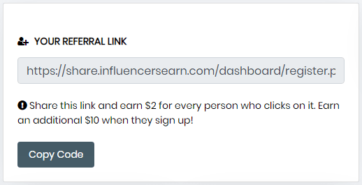 InfluencersEarn.com Referral Link