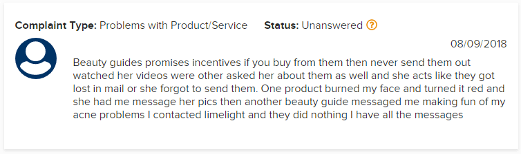 LimeLight BBB Complaint 2