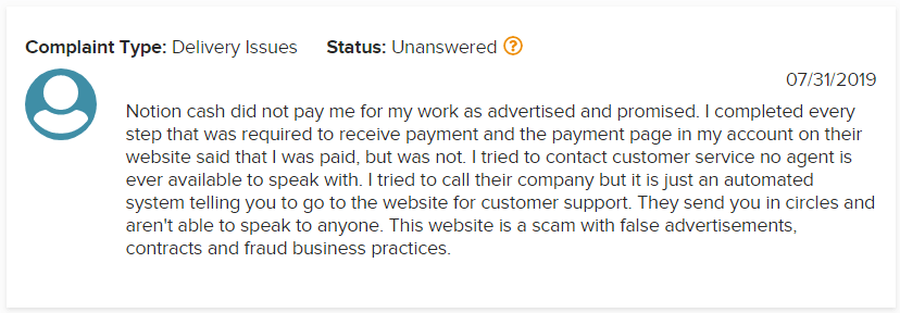Notion Cash BBB Scam Complaint 1