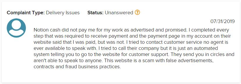 Notion Cash BBB Scam Complaint 1